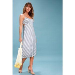 Lush Dresses - SUN & SEA BLUE WHITE STRIPED BACKLESS MIDI DRESS